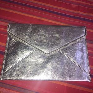 Rebecca Minkoff silver Leo envelope clutch
